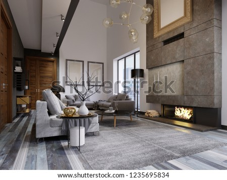Design apartment in the style of a loft with a second tier. TV area with a sofa and couch. 3d rendering.