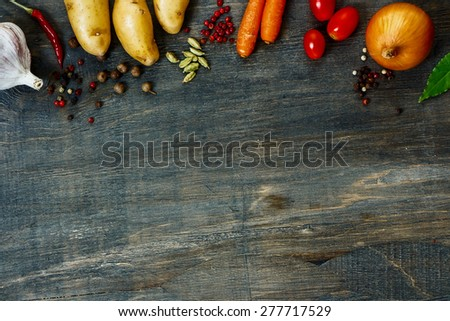 Design background with vegetables and space for text. Healthy food from garden.