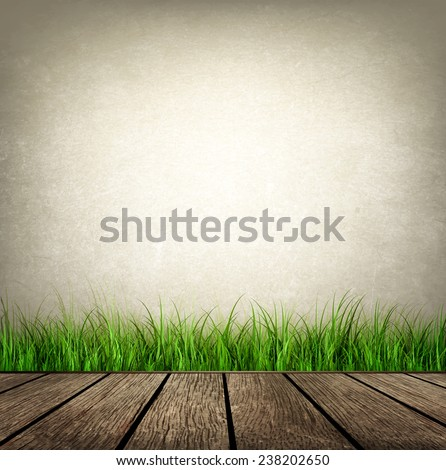 Design Background With Wooden Floor And Grass
