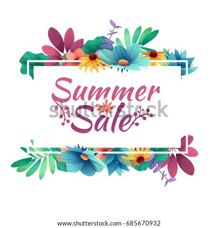 Design banner with  summer sale logo. Discount card for summer season with white frame and herb. Promotion offer with summer plants, leaves and flowers decoration.  #685670932