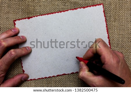 Design business concept Empty copy text for Web banners promotional material mock up template On jute ground huanalysis hand written some texts on red bordered paper #1382500475