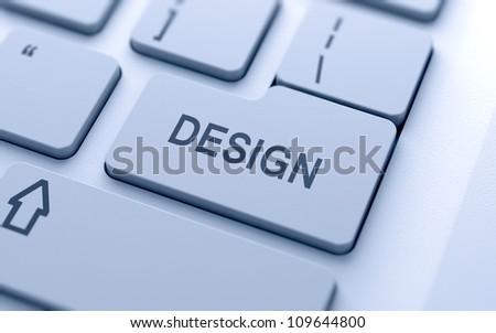 Design button on keyboard with soft focus