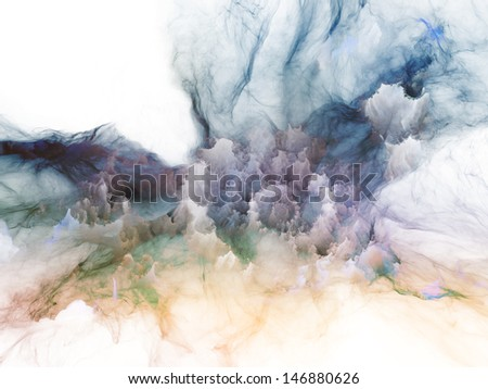 Design composed of bursting strands of fractal smoke and paint as a metaphor on the subject of design, science, technology and creativity