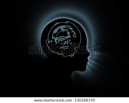 Design composed of clock gears, numbers and human head outline as a metaphor on the subject of consciousness, artificial intelligence and technology