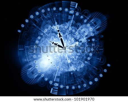 Design composed of clock hands, gears, lights and numbers as metaphor on the subject of time sensitive issues, deadlines, scheduling, temporal processes, digital technologies, past, present and future