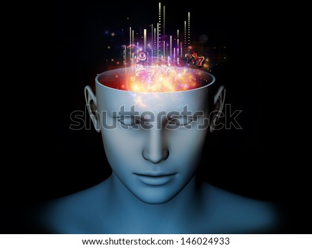 Design composed of cutout of male head and symbolic elements as a metaphor on the subject of human mind, consciousness, imagination, science and creativity