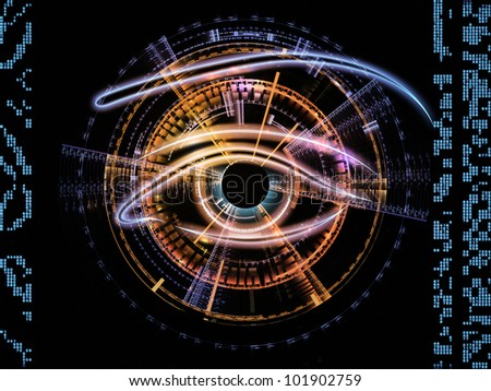 Design composed of eye outlines, numbers, fractal and abstract design elements as a metaphor on the subject of mechanical progress, artificial intelligence, virtual reality and digital imaging
