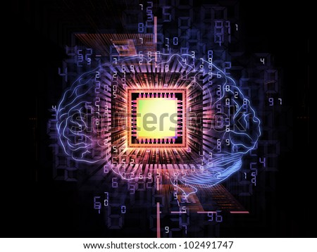 Design composed of head outlines, computer chip, numbers on the subject of thinking, logic, computing and brain power