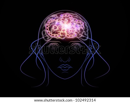 Design composed of head outlines, lights and abstract design elements as a metaphor on the subject of intelligence,  consciousness, logical thinking, mental processes and brain power