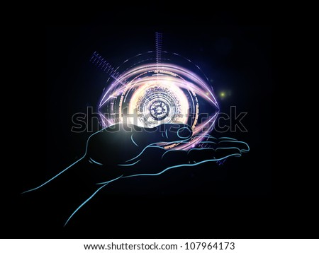 Design composed of human hand and technological elements as a metaphor on the subject of science, alternative energy and portable technologies