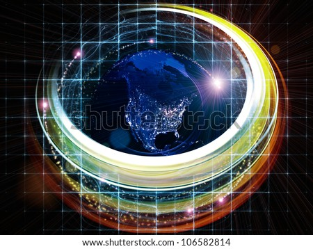 Design composed of light trails, satellite imagery (courtesy of NASA) and technological elements as a metaphor on the subject of science, progress and global technologies