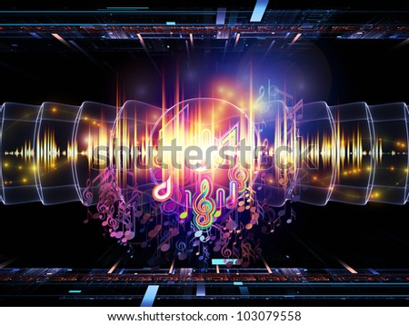 Design composed of musical notes, perspective fractal grids, lights, wave and sine patterns as a metaphor on the subject of music, sound processing, audio performance and entertainment