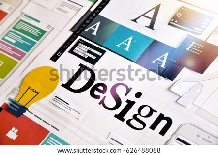 Design concept for graphic designers and design agencies services. Concept for web banners, internet marketing, printed material, presentation templates.