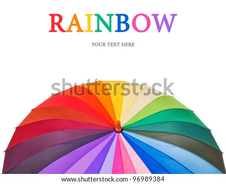 Design concept with big multicolored umbrella (isolated on white with place for your text)
