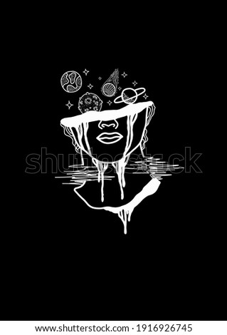 design depicting hallucination illustration. hand drawn lines in digital color. Suitable for the design of t-shirts, stickers and the like Stockfoto ©