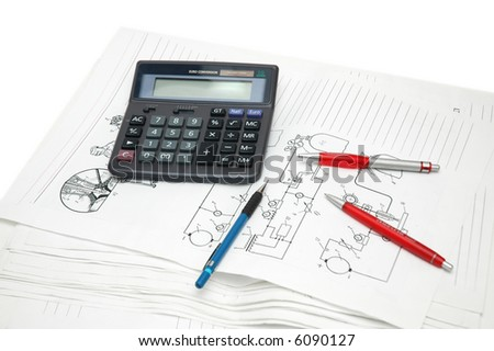 Design drawings, calculator and red pens - more similar photos in my portfolio
