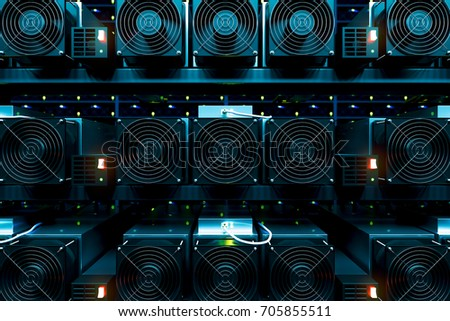 design element. 3D illustration. rendering. dark bitcoin cryptocurrency mining farm 3d background color image