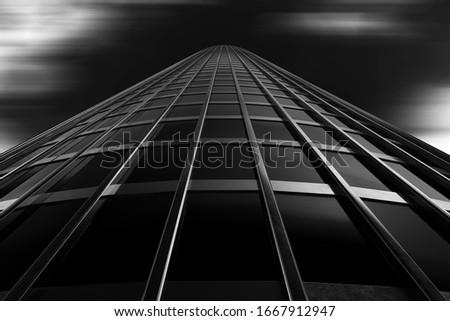 design element. 3d illustration. rendering. glass skyscraper cloudy sky Photo stock ©