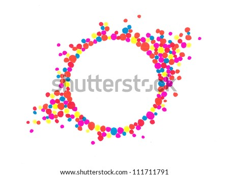 Letter U logo with pink purple green particles and