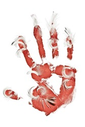 Design element on white. Birds killing concept. Bloody palm imprint with flags on white.