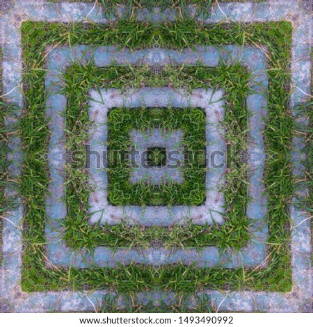 Design element, pattern, square squared or frame of stripes of green grass and gray concrete. The merger of the city and the village. Abandoned buildings quickly overgrown with grass. Kaleidoscope #1493490992
