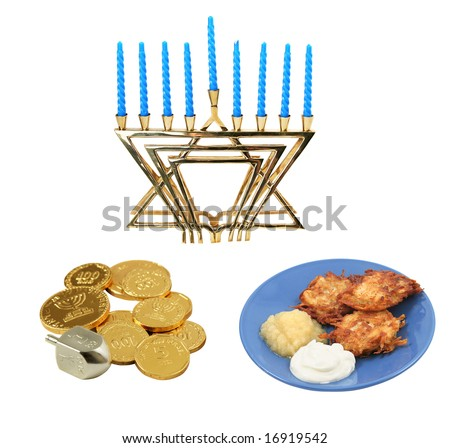 Design elements for Chanunkah - menorah, latkes, and a dreidel with gelt.  All isolated on white background.  (symbols on the coins are generic Hanukkah symbols and hebrew writing, not trademark)