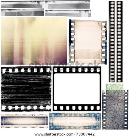 Design elements set, film borders, textures.