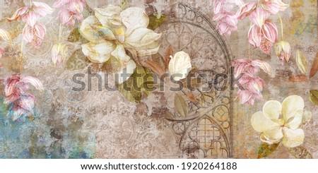Design for mural, wallpaper, photo wallpaper, card, postcard. Floral background. Magnolia, jasmine flowers illustration. Foto stock ©