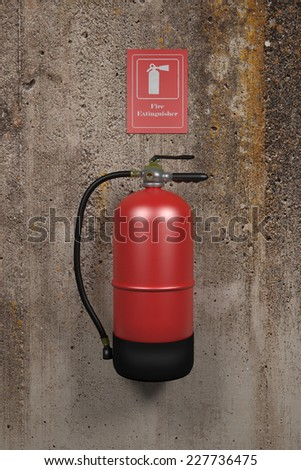 design in 3d of a fire extinguisher on a dirty wall