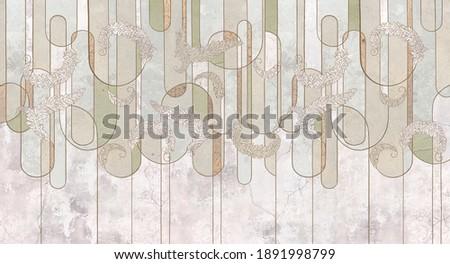 Design in the loft, classic, baroque, modern, rococo style. Graphic geometry on concrete grunge background. Light, delicate photo wallpaper, mural, wallpaper, card, postcard design.