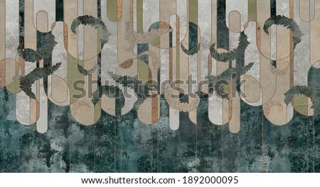 Design in the loft, classic, baroque, modern, rococo style. Graphic geometry on concrete grunge background. Dark photo wallpaper, mural, wallpaper, card, postcard design. Сток-фото ©