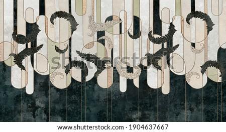 Design in the loft, classic, baroque, modern, rococo style. Graphic geometry on concrete grunge background. Dark photo wallpaper, mural, wallpaper, card, postcard design.
