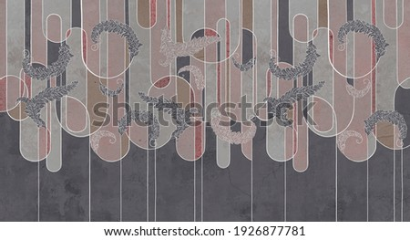 Design in the loft, classic, baroque, modern, rococo style. Graphic geometry on concrete grunge background. Photo wallpaper, mural, wallpaper, card, postcard design.