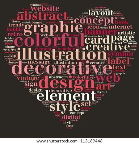 design info-text graphics and arrangement concept on black background (word cloud)
