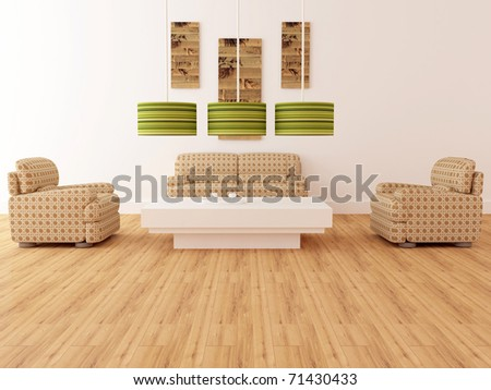 Design interior of elegance modern living room, brown armchairs with lamps and coffee table, rendering
