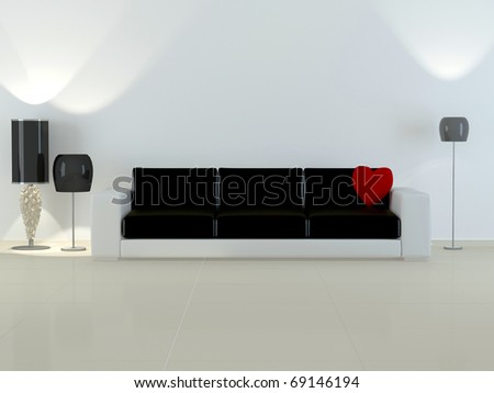 Design interior of elegance modern living room, modern white and black sofa with flour lamps, rendering