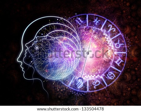 Design made of outlines of human head, astrological and fractal elements to serve as backdrop for projects related to astrology and occult