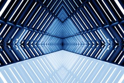 design of architecture metal structure similar to spaceship interior. abstract modern architecture in blue tone photo.