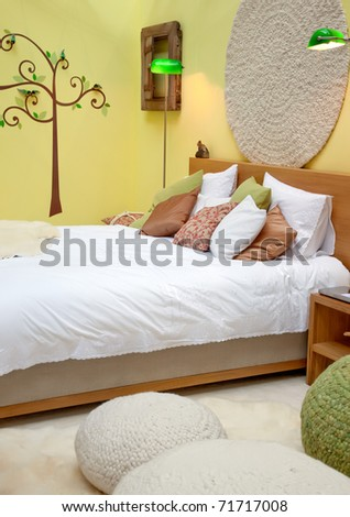 design of bed room in spring theme