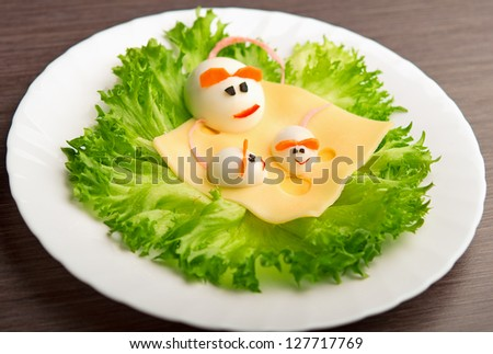 Design of food for children. eggs in the shape of a mouse