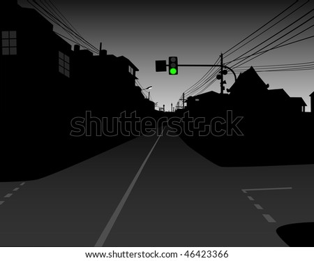 Design of green traffic light over a dark and empty street