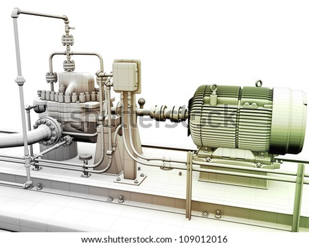 Design of industrial engine and power generator with wireframe on top