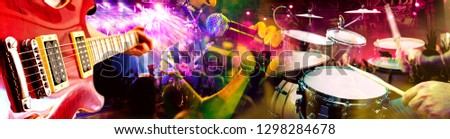 Design of live music and concert background. Guitarist , drummer and singer.Night entertainment and festival events concept