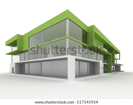 Design Of Modern Office Building. Environmentally Friendly, Green ...