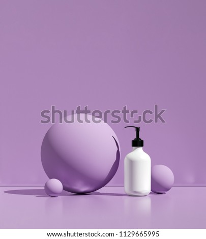 Design of natural cosmetic cream , serum, skincare blank bottle packaging. bio organic product. beauty and spa concept. Abstract violet background. 3d illustration