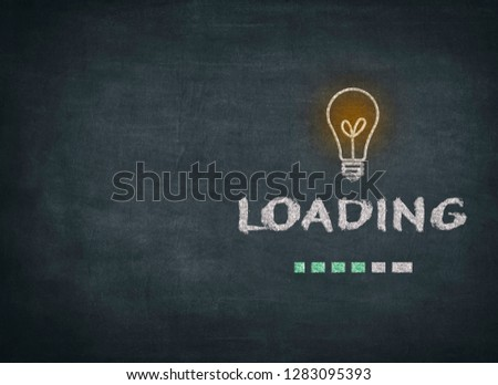 Design of progress bar on blackboard, loading an idea to mean a concept