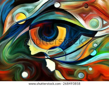 Design on the subject of intuition between parent and child made of profiles of woman and child, human eye and abstract elements