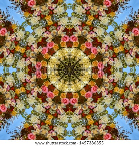 Design pattern made from photos of collrful flowers at a wedding #1457386355