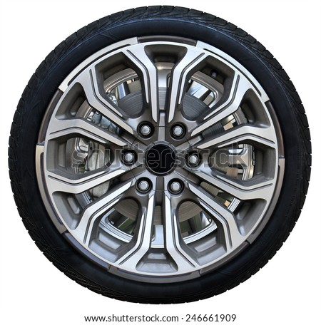 Design pattern of car wheel, tires car wheel, car wheel on white background #246661909
