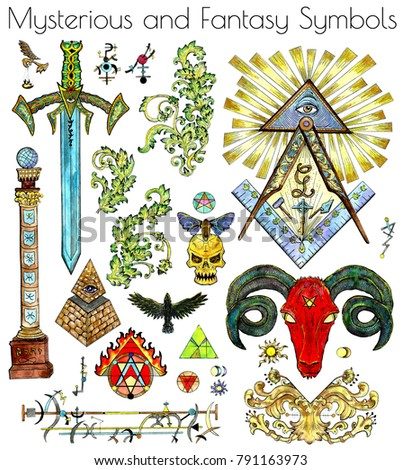 Design Set With Colorful Mystic Esoteric And Fantasy Symbols